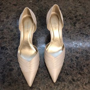 High heel  d'Orsay cut satin shoes NEW